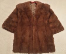 GENIUNE MINK FUR VINTAGE WRAP LIGHT BROWN STOLE CAPE SHRUG SHAWL Medium to Small
