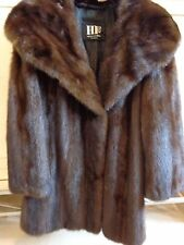 "LADIES MINK FUR COAT RICH DARK BROWN MED 8 - 10 KNEE LENGTH 36"" LARGE COLLAR EXC"