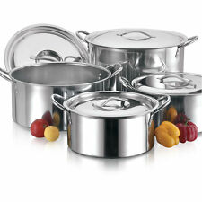 4pc GRANDI IN ACCIAIO INOX RISTORAZIONE Deep STOCK Soup Calderone / stockpots Set
