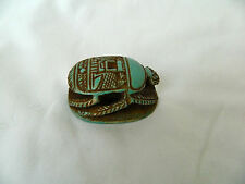 """Egyptian Scarab Lime Stone Symbol Of Luck  2"""" X 1.5"""" Handmade Turquoise"""