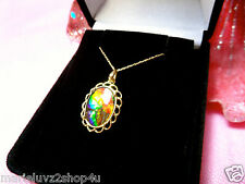 NEW 10k SOLID GOLD SALLOP EDGE 16X12 STUNNING AMMOLITE PENDANT & GOLD CHAIN !