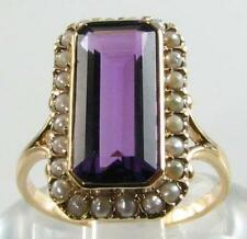 HUGE NEAR FLAWLESS 9CT GOLD 15mm x 7mm AFRICAN AMETHYST & PEARL RING