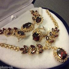 SE49. GOLD GF sim diamonds + GARNETS, STATEMENT necklace bracelet ring earrings