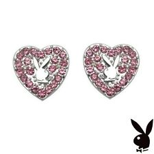 Playboy Earrings Heart Bunny Studs Pink Swarovski Crystal Platinum Pltd RARE HTF