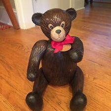 Vintage Large Resin Teddy Bear With Movable Joints Very Rare Christmas