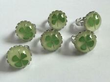 10 pcs Glow in the dark Round Real Four Leaf Clover Ring Vintage Jewelry