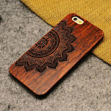 Natural Carved Wood Wooden Pattern Hard Case Back Cover For iPhone 5 5S -Flower
