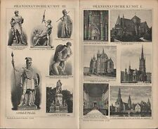 Lithografie 1903:SKANDINAVISCHE KUNST. Hans Gude Thorwaldsen Dom zu Upsala