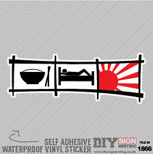 Eat Sleep Jdm Rising Sun Red Self Adhesive Vinyl Sticker Decal Window Car Van Bi