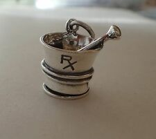 Sterling Silver 3D 14x13mm Pharmacy Mortar & Pestle RX Charm