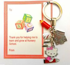 Thank you Gift for Nursery School Teacher Hello Kitty Keyring card & organza Bag