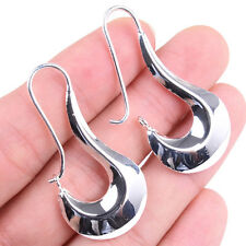 925 Sterling Silver 45mm Long thick Curved hook-shaped Hoop Earring Jewelry H389