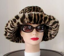 "VINTAGE SUPERB SPOTTED FUR HAT WITH  4"" LARGE BRIM   22""+"