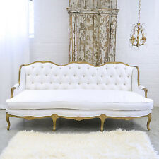 Shabby Cottage Chic Fancy White Linen Settee Couch Sofa French Vintage Style