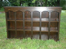 Vtg Lg Wood Colonial Wall Shelf Cup Saucer Knick Knack Curio 37 Long 3 Tier Rack
