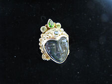 SAJEN Sterling Silver Goddess Face OFFERING RING Gold Clad PERIDOT/EMERALD sz 5