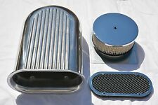 """14"""" Aluminum Hilborn Style Finned Hood Scoop Air Cleaner 4 Barrel Carb 5-1/8"""""""