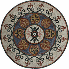 Forest Mania Leaves Flowers Round Medallion Marble Mosaic MD1789