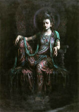 Large art Oil painting Dunhuang flying seated Guanyin Kwan-yin Avalokitesvara