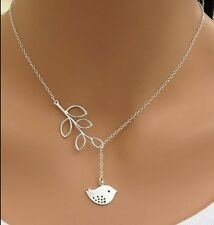 New Design Fashion Jewellery Simple Leaves and Bird Pendant Chain Necklace