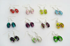 FREE wholesale lot  6Pairs  Flower Round murano glass bead Silver Plated earring