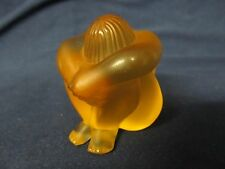LALIQUE FRANCE NUDE AMBER MEDITATING SITTING CRYSTAL FIGURINE EXLNT CONDITION