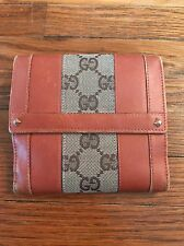 Vintage Gucci Bifold Wallet! Leather Signature Canvas GUC