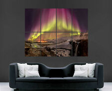 ICELAND NORTHERN LIGHTS POSTER  STARS AURORA BOREALIS WALL ART PICTURE PRINT