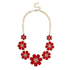 Lux Accessories Gold Tone and Red Pave Large Floral Flower Statement Necklace