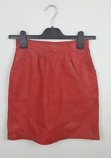 WOMENS VTG RED USED GENUINE LEATHER URBAN RENEWAL 80'S RETRO SHORT SKIRT VGC W24