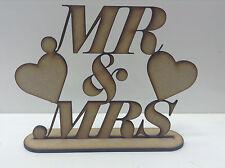 N Mdf » Sr. & Sra.' con corazones Signo. Listo Para Decorar Y Pintar.
