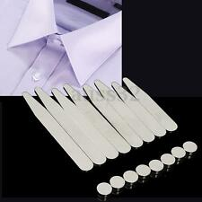 Stainless Steel 8 Polished Metal Collar stays + 8 Magnets for Mens Dress Shirts
