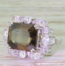 ART DECO 8.14ct ORANGEY BROWN NATURAL SAPPHIRE & DIAMOND RING - 18k Gold -c 1935