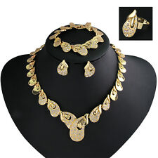 New African Jewelry Set For Women Wedding Party KC Gold Rhinestoine Neclace Sets
