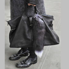 Large Luxury Black Natural Real Fox Tail with White Tip Keychain Tassel For Bag