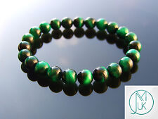 Green Tigers Eye Dyed Natural Gemstone Bracelet 7-8'' Elasticated Healing Stone