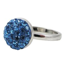 Blue Pave Crystals Shamballa Inspired Sterling Silver Ring (4)