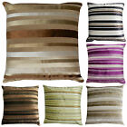 "Luxury STRIPED Chenille & Suede Filled Cushions or Cushion Covers 18"" / 45cm"