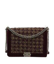 Chanel Le Boy Burgundy Tweed, Velvet & Leather Shoulder Bag