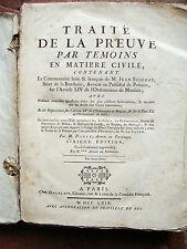 DROIT 1769 TRAITE DE LA PREUVE PAR TEMOINS  de DANTY avocat