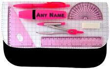 PERSONALISED PINK MATHS SCHOOL SET PRINT SCHOOL PENCIL CASE MAKE UP BAG GIFT