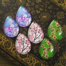 6pcs Glass 3 Mix Cherry Blossom Drop Cameo Cabochon 18x25mm