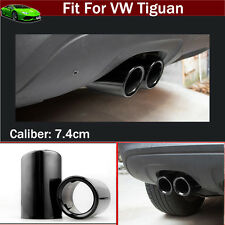 2pcs Black Exhaust Muffler Tail Pipe Tip Tailpipe Emblem For VW Tiguan 2008-2017