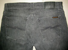 NUDIE TIGHT LONG JOHN WORN GREY JEANS, MADE IN ITALY, SIZE W28 L32