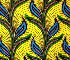 African Fabric 1/2 Yard Cotton Polyester Blend Wax YELLOW GREEN BLUE Abstract
