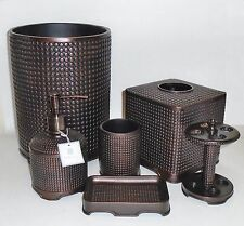 6 PC SET PERI BROWN TEXTURED RESIN SOAP DISPENSER+TRASH CAN+TUMBLER+DISH+TOOTH