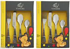 2x Viners Bertie Stainless Steel 4 Piece Children Child Kids Cutlery Set