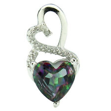 Small Heart Necklace W/Genuine Diamond & Mystic Gemstone in 925 Sterling Silver