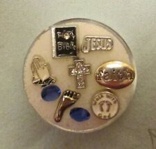 Lot # 62 CHRISTIAN JESUS FAITH  FLOATING CHARM SET FOR  GLASS MEMORY LOCKETS