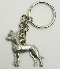 Chinese Crested Dog Keychain Keyring Harris Pewter Made USA Key Chain Ring